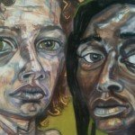 """Desires for Connectivity: Lisa Marie and Ebony"" (detail) by Lisa Marie Thalhammer.  Photo by Eric Hope for East City Art."