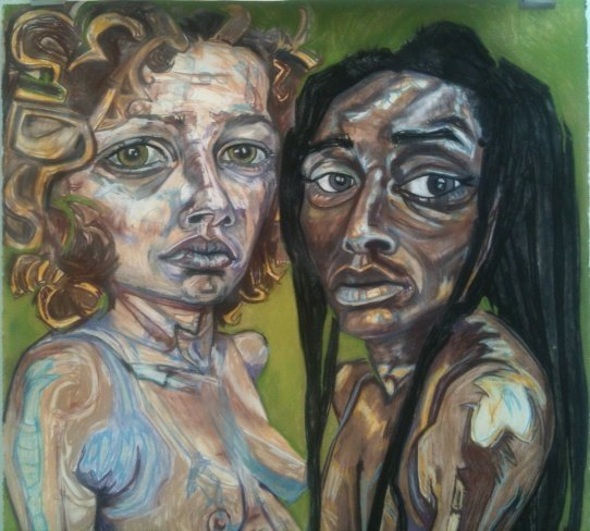 """Desires for Connectivity: Lisa Marie & Ebony"", by Lisa Marie Thalhammer.  Photo by Eric Hope for East City Art."