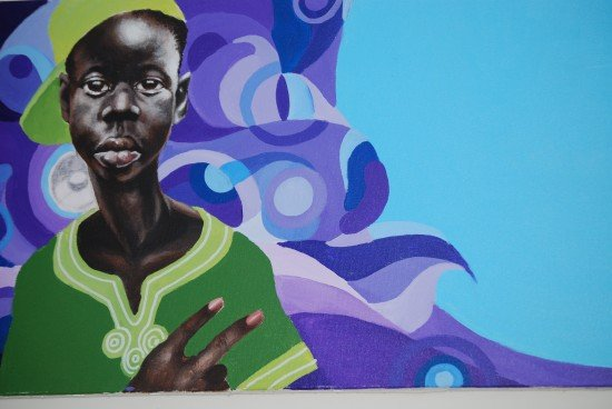 """The painter's """"Village B boy""""series. Photo by Sayyah George for East City Art"""