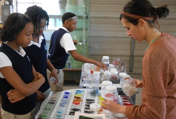 WGS' Audrey Wilson explains how color is added to glass.