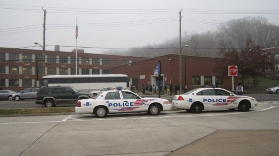 """Police Wait for Students After School"" (detail) by Malik Thompson. Photo courtesy of Critical Exposure."