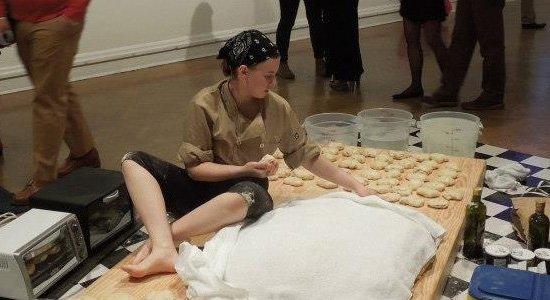 Performance detail, Annie Rose Hanson, Proofing Ambivalence at Room Temperature, 2013, photograph courtesy of the artist