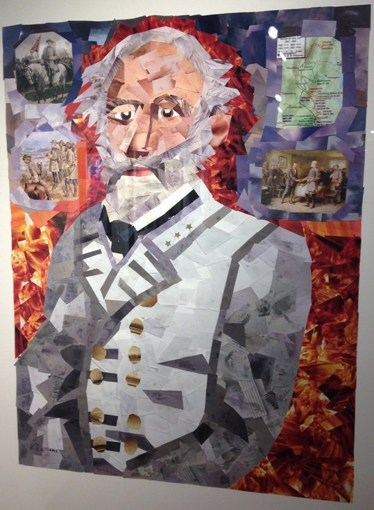 John M. Williams Gen. Robert E. Lee Cut Paper Collage Photo by Eric Hope for East City Art.