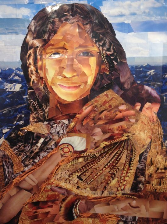 John M. Williams Sacajawea Cut Paper Collage Photo by Eric Hope for East City Art.