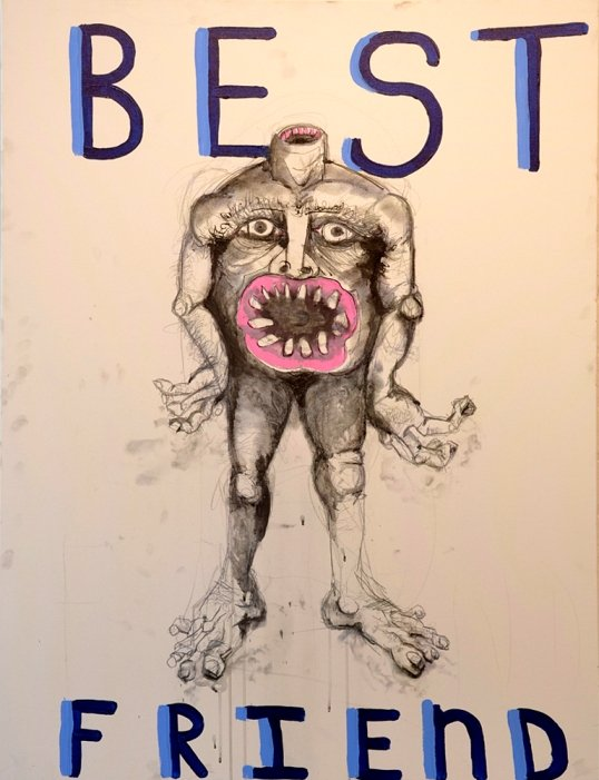 Norbert Gomez anatomy of a cannibal (best friend), 2013 acrylic, graphite, marker and charcoal on canvas 48 x 36in Image Courtesy of Gallery A.
