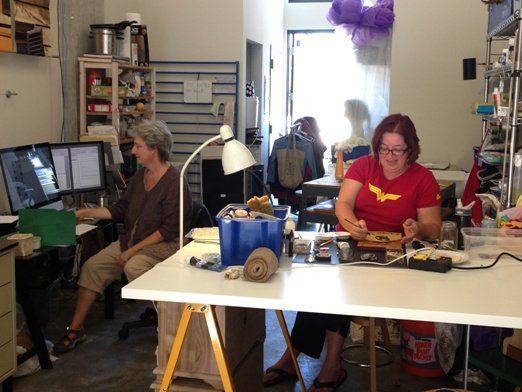 Leda Black (left) and Marcelle Fozard at work in their studio.  Photo by Eric Hope for East City Art.