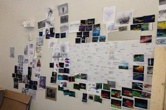 """Alejandro Pintado's """"idea wall"""".  Photo by Eric Hope for East City Art."""