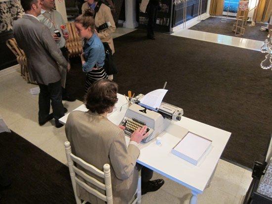 "(e)merge art fair, Opening night, October 3, 2013. Andrew Wodzianski, performance/art action, ""Self Portrait as Jack Torrance."" (ongoing daily)"
