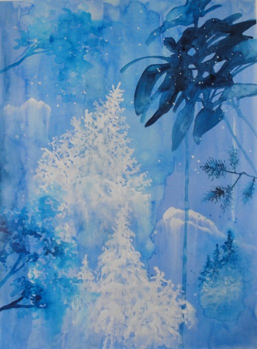 Allison Edge, Magic Forest, 2013, watercolor, acrylic on paper. Photo courtesy of Catalyst Project.