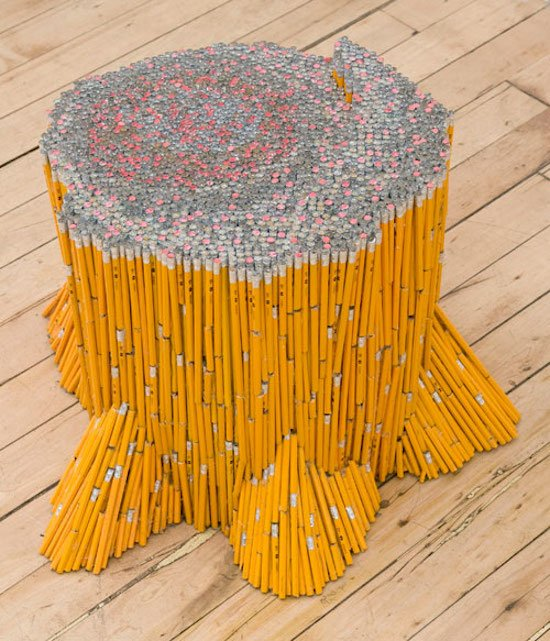 Stump, Travis Childers, pencils, glue. Photo courtesy of The Bethesda Arts & Entertainment District.