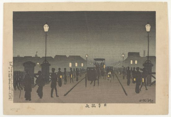 """Night at Nihonbashi"" Kobayashi Kiyochika Meiji era, 1881 Woodblock print; ink and color on paper 24.4 x 36.6 cm Robert O. Muller Collection; Arthur M. Sackler Gallery Image courtesy of the Sackler Gallery."