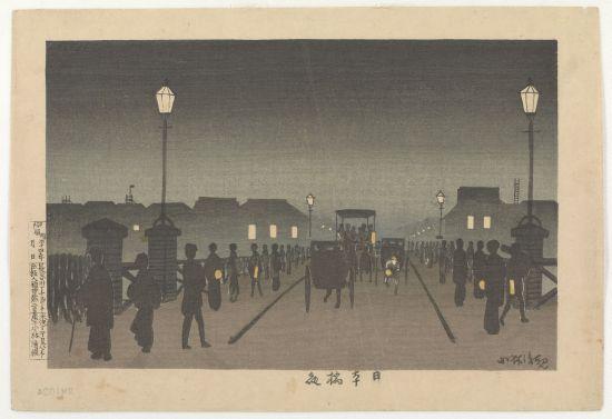 """Night at Nihonbashi"" Kobayashi Kiyochika Meiji era, 1881 Woodblock print; ink and color on paper 24.4 x 36.6 cm Robert O. Muller Collection; Arthur M. Sackler Gallery Image courtesy of the Sackler Gallery."