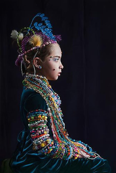 Katie Miller, A Young Lady Adorned with Beads, 2013, oil on panel. Photo courtesy of CONNERSMITH.