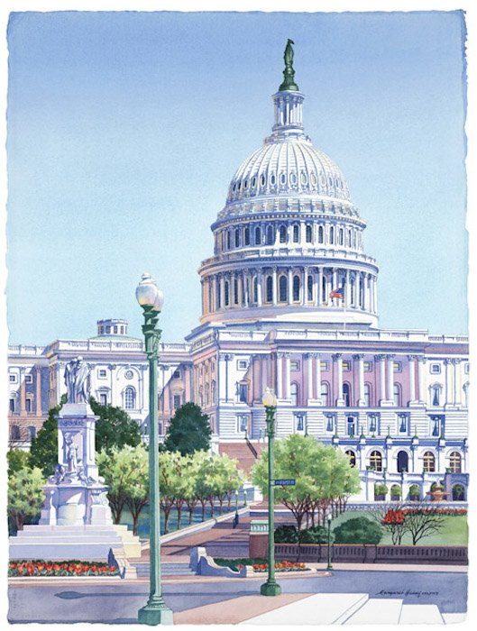 Capitol Spring by  Margaret Huddy. Photo courtesy of Hill Center Galleries.