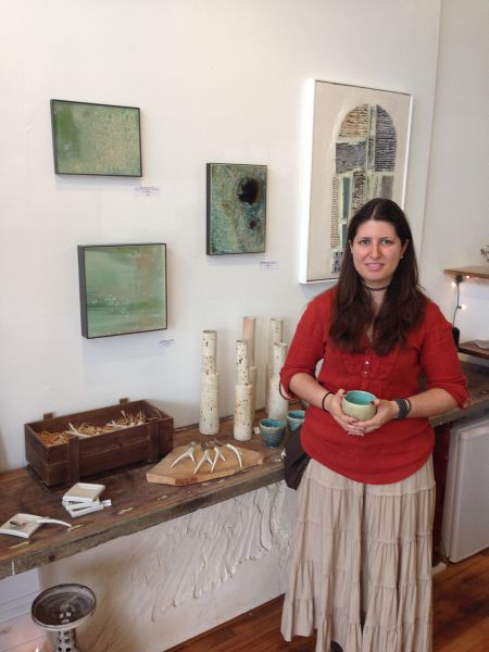 Ceramicist Sarah Nikitopoulos displays her works at ARTBAR.  Photo by Eric Hope for East City Art.