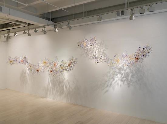 Cloud, 2014 4-piece installation, various sizes hand cast resin, stainless steel wire, brass wire, copper wire, unique. Photo courtesy of Adamson Gallery.