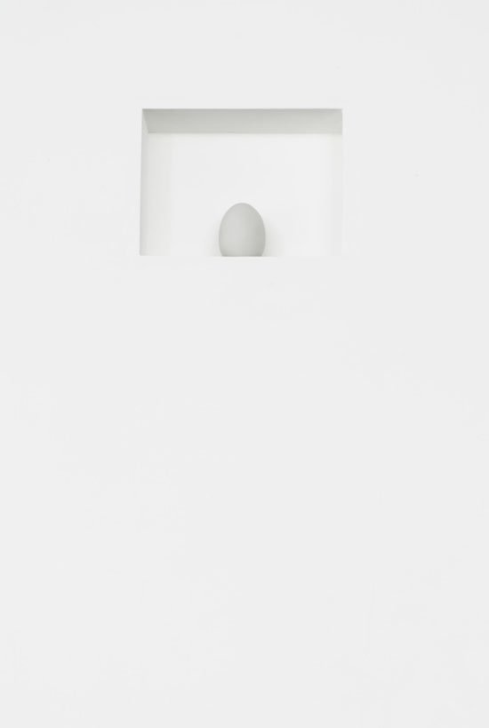 "Detail, White Desire (2013), Porcelain, wood, joint compound, gallery paint, 8.5""x11"" rectangular recess at 8ft above floor"