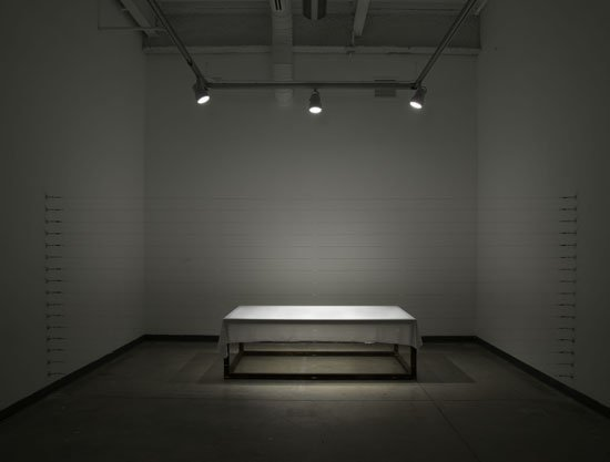 Levester Williams Confinement (2014) Bed sheet from an US prison, wire, steel, turnbuckles, wall mountable hooks 6ft x 15ft x 8ft (dimension varies). Photo courtesy of the artist.