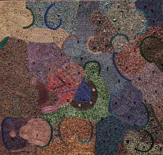 Zulu Dance (Ear Plugs), 2006 Thembani Ntobela Glass beads sewn onto fabric. Photo by Eric Hope for East City Art.