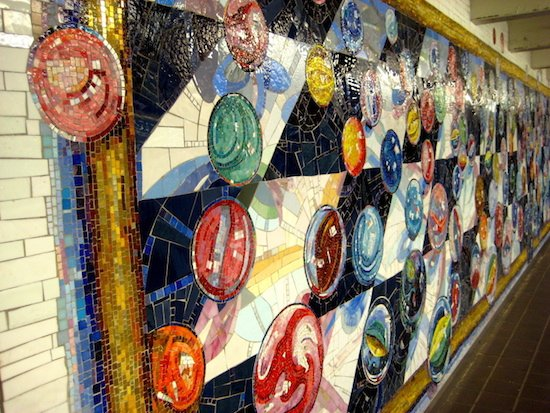 Photo of mosaics at 42nd Street in New York Subway. by Annie Mole. Courtesy of Wikimedia Commons.