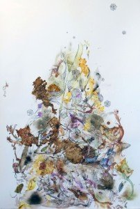 "Elementary, Soil, mineral and plant pigments, ink, watercolor and graphite, 48"" x 32"" by Pam Rogers."