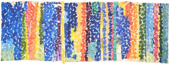 "Alma Thomas, Untitled, circa 1968, acrylic on paper, 18"" x 52"". Courtesy of HEMPHILL."