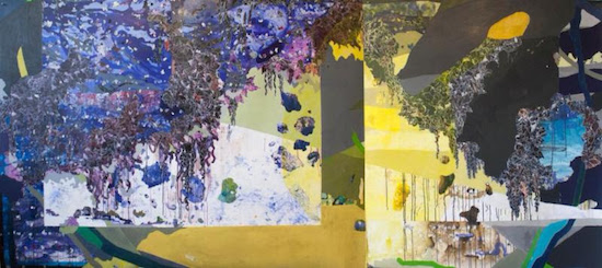 "Dripstone, acrylic, collage + sumi ink | 60"" x 133"" Courtesy of Project 4."