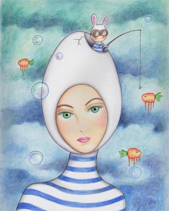 Carolina Seth, Fishing, Watercolor & Colored Pencil on Bristol, 8 x 10.