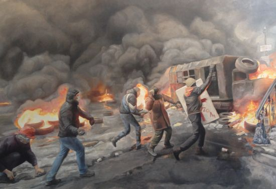 Maidan (detail), 2014. Oil on canvas; 50 x 70 inches. Photo by Eric Hope for East City Art.