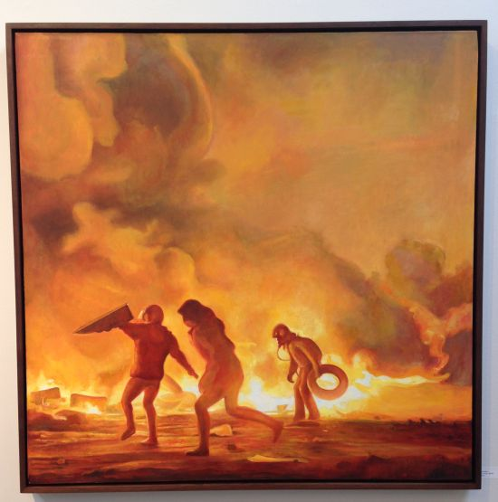 Three Marauders, 2014 Oil on linen; 38 x 38 inches. Photo Eric Hope for East City Art.