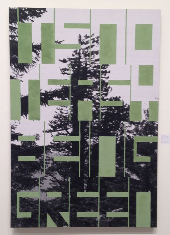 "Patrick McDonough 142511-green piece (julia butterfly hill), 2014 Enamel on inkjet print mounted on bamboo plywood, 43 1/2"" x 29 1/2"" x 1"" Courtesy of the Artist Photo by Eric Hope for East City Art."