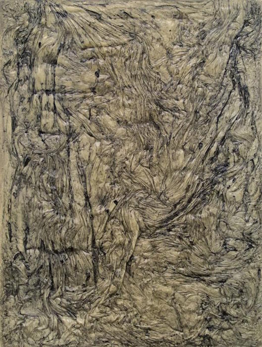 Untitled, polyurethane adhesive and stain on canvas, 64x48, 2014. Courtesy of Honfleur Gallery.