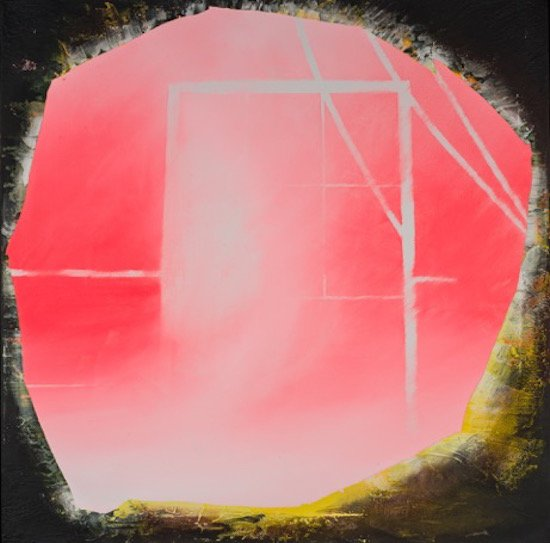 The Cave, acrylic & ceramic tile adhesive on canvas, 2014 by Rush Baker. Courtesy of Honfleur Gallery.