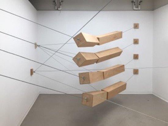 Rob Hackett, Systems: 2, 2015, Plywood, steel, cable, cable clamps, Dimensions variable. Courtesy of Visarts.