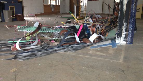 Margo Elsayd Neon Necklaces (partial view) Found Objects; 2015 Photo for East City Art by Eric Hope.