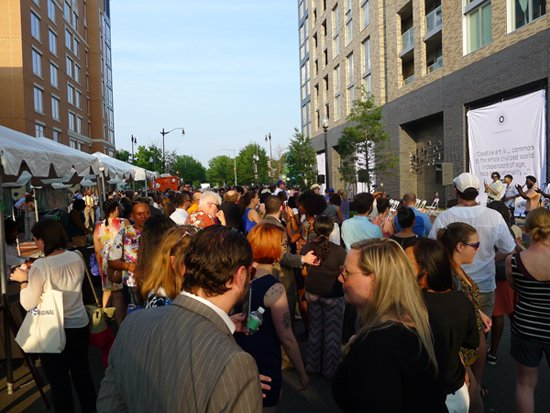Unveiling pre-party on P Street NW between 7th and 8th Street.  Image by Phil Hutinet for East City Art.