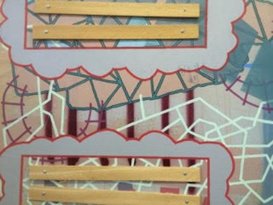 "Bobby Coleman, Detail from ""Clean up in aisle 5"", Latex paint, spray paint, paint pen, wood, bolts. Courtesy of VisArts."