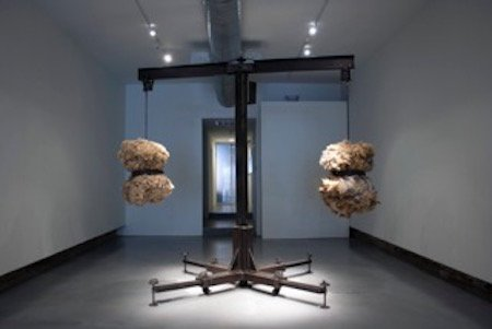 Dane Winkler, A-L-I-C-E, 2014, Fabricated steel, patina, AC motor, and raw sheep wool, 112 x 109 x 109 inches. Courtesy of VisArts.