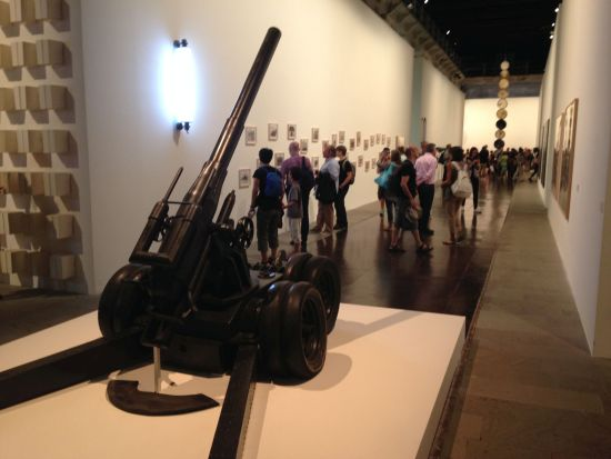 Cannone Semovente by Pino Pascale looms over Biennale visitors. Photo for East City Art by Eric Hope.