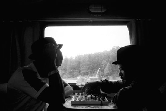 Members of rap group Run DMC on the road between Virginia and New York 1989 by Eli Reed. Courtesy of Leica Store Washington DC.