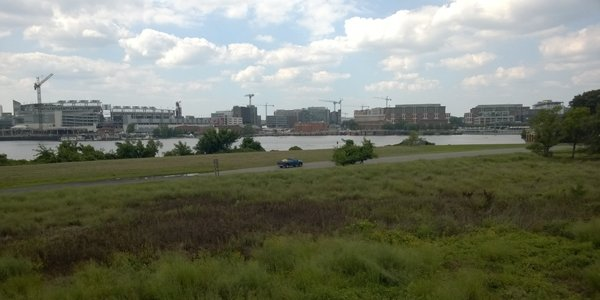 Navy Yard seen from Poplar Point.  Photo by Phil Hutinet for East City Art.