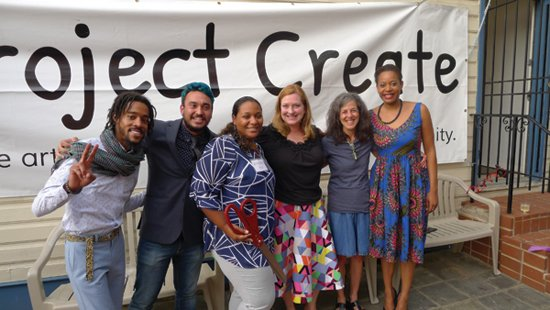 Project Create Staff—From left to right: Shaymar Higgs, George Burton, Lindsey Vance, Christie Walser,  Julie Jacobson and Aidah Fontenot.  Photo by Phil Hutinet for East City Art.