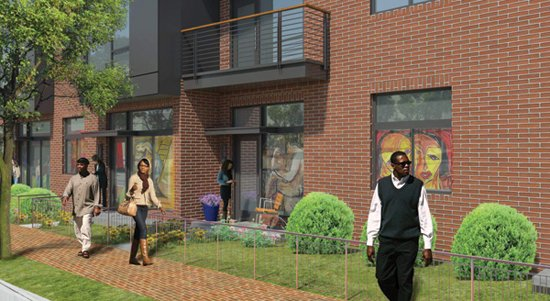 Rendering of entrance to artist studio with front garden. Image courtesy Four Points Development LLC