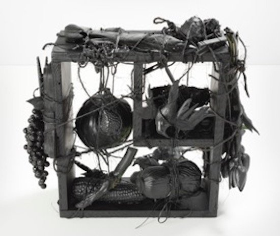 Annie Farrar, Birds in the Pantry, 2015, Mixed media: found objects and paint, 15 x 15 x 5 inches. Courtesy of VisArts.