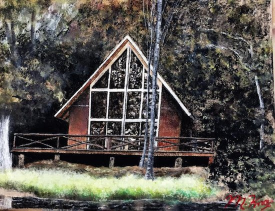 Cabin by the Lake by Mike Knox. Courtesy of Art Enables.