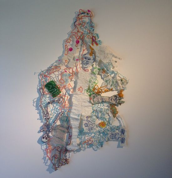 White Noise Hanging, 2010 Joyce J. Scott Glass beads, thread, wire 25 x 29 in. Photo for East City Art by Eric Hope.