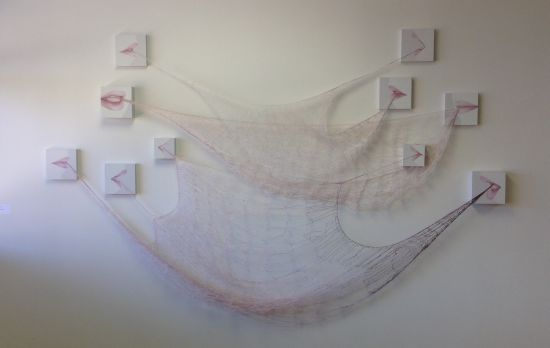 Tangle, (2015) Rania Hassan Oil, Fiber, Wood Photo for East City Art by Eric Hope.