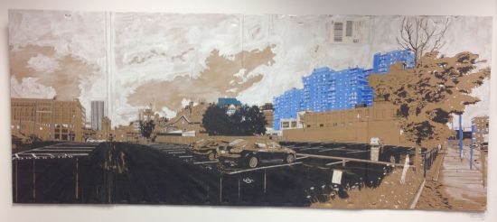Andrews St. and N. Clinton, (2015) Christian Tribastone Ink & Acrylic on Cardboard Photo for East City Art by Eric Hope.