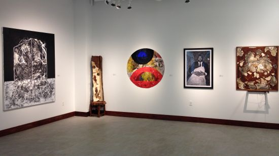 Works by Wayson Jones, Joan Belmar, Sheldon Scott and Ellington Robinson. Photo for East City Art by Eric Hope.