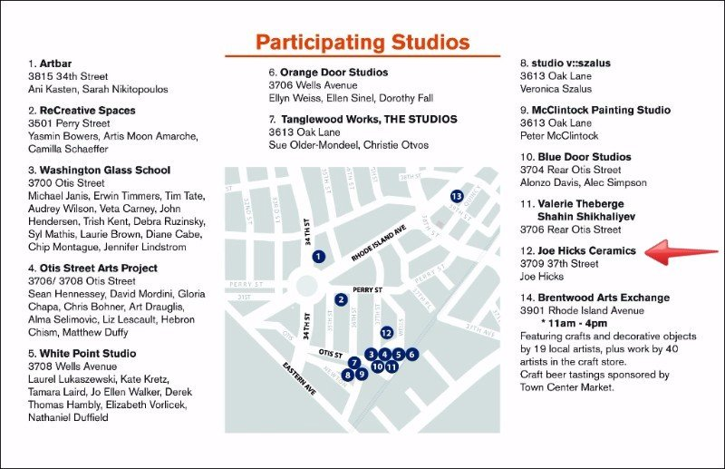 Mount Rainier December 2015 Open Studio Tour.   [Click on map to enlarge]